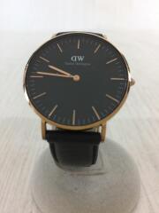 クォーツ腕時計/アナログ/レザー/BLK/DW00100139