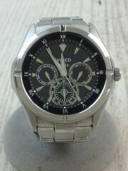ソーラー腕時計/アナログ/ステンレス/BLK/SLV/AGAD032