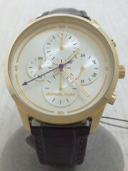クォーツ腕時計/アナログ/レザー/WHT/MK-2687