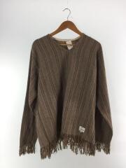 Fringe Pullovet Shirt/長袖シャツ/FREE/ウール/BEG/ストライプ