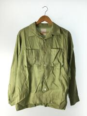 LUZ2001304A0003/asa(麻)シャツ/オープンカラーシャツ/開襟/S/グリーン/リネンシャツ