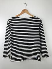 ボートネック長袖Tシャツ/3/コットン/BLK/ボーダー