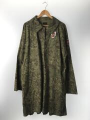 ステンカラービッグシャツワンピース/FREE/コットン/KHK/カモフラ/ワッペン付