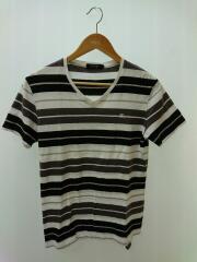 ワンポイント胸ロゴマーク刺繍VネックTシャツ/2/コットン/WHT/ボーダー