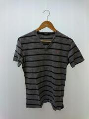 VネックTシャツ/2/コットン/グレイ/ボーダー
