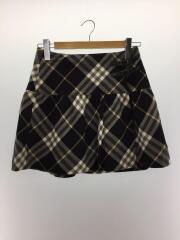 巻きスカート/38/ウール/ブラック/チェック