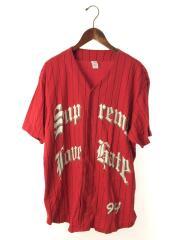 Love Hate Baseball Jersey/ユニフォームシャツ/L/コットン/RED/ストライプ
