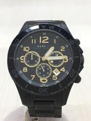 クォーツ腕時計/アナログ/ステンレス/GLD/BLK