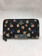 COACH/2つ折り財布/レザー/BLK/花柄