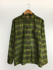 刺繍タグ/60s~70s/開襟シャツ/M/コットン/GRN/チェック