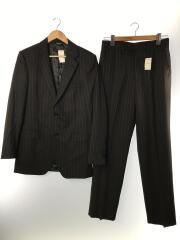 2bスーツ/46/コットン/BLK/ストライプ