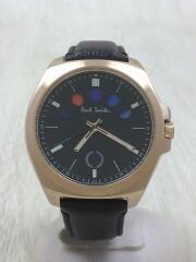 クォーツ腕時計/アナログ/レザー/GRN/BRW/使用感有