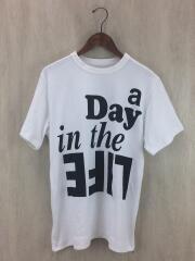 Tシャツ/ロゴプリント/ジップ/17-03470/1/コットン/WHT