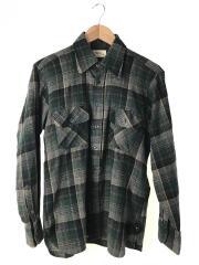 70S/ウールチェックネルシャツ/ネルシャツ/M/ウール/グリーン/チェック
