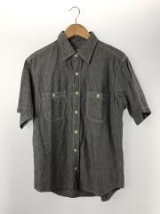 黒シャンブレーシャツ/半袖シャツ/コットン/グレー/無地