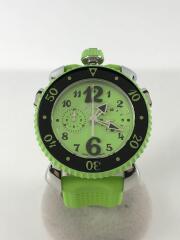 クォーツ腕時計/アナログ/ラバー/GRN/GRN