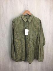 09`s/53836/長袖シャツ/L/コットン/GRN/チェック