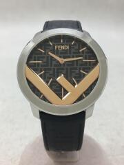 クォーツ腕時計/レザー/BLK/FENDI/フェンディ