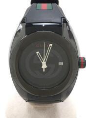 クォーツ腕時計/アナログ/ラバー/137.1/ブラック/GGロゴ/シンク/ウエブライン/グッチ