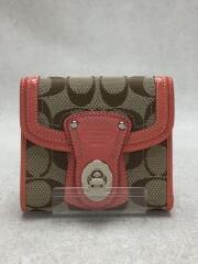 3つ折り財布/キャンバス/BEG/総柄/レディース/コーチ