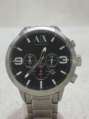 アルマーニエクスチェンジ/クォーツ腕時計/アナログ/ステンレス/BLK/SLV