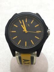 アルマーニ/クォーツ腕時計/アナログ/ラバー/BLK/YLW
