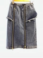 20ss/ウオッシュジップスカート/WASH ZIP SKART/スカート/M/デニム/IDG/無地