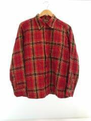 60~70s/ウールチェックシャツ/オープンカラー/レッド/長袖シャツ/L/ウール/RED