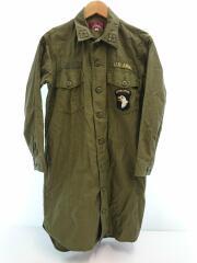 ミリタリーロングシャツ/ワッペン/U.S.ARMY/M/コットン/カーキ/無地/6265037