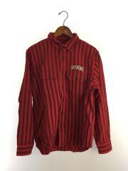 長袖シャツ/S/コットン/RED/ストライプ/Stripe Heavyweight Flannel Shirt