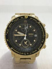クォーツ腕時計/アナログ/ステンレス/BLK/GLD