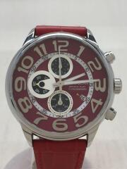 クォーツ腕時計/アナログ/レザー/RED/RED/赤/DP40