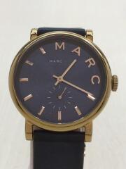 クォーツ腕時計/アナログ/レザー/ネイビー/MBM1329