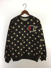 スウェット/M/コットン/BLK/総柄/12AW Stars Crewneck
