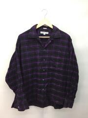 オープンカラーコットンフランネルチェックシャツ/XL/コットン/パープル/チェック