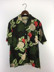 20SS/ハワイアン/プリント/ボーリングシャツ/シルク混/半袖シャツ/44/レーヨン/ブラック