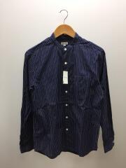 バンドカラーシャツ/長袖シャツ/M/コットン/ネイビー/ストライプ