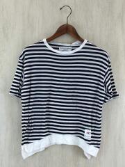 Tシャツ/XXS/コットン/WHT/ボーダー