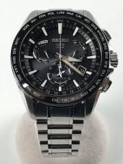 アストロン/ソーラー腕時計/アナログ/ステンレス/BLK/SLV