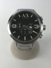 クォーツ腕時計/アナログ/ステンレス/BLK/SLV/ベルト傷有