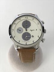 ソーラー腕時計/アナログ/レザー/WHT/BRW