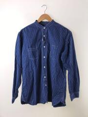 長袖バンドカラーシャツ/LL/コットン/BLU/ストライプ