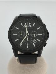 オールブラック/クロノグラフ/クォーツ腕時計/アナログ/レザー/BLK/BLK/AX2098/
