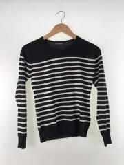 セーター(薄手)/S/ウール/BLK/ボーダー
