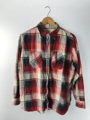 60s/シンガポール製/ネルシャツ/L/コットン/レッド/チェック