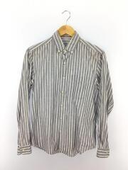 1263-343-0161/リネン16%混/長袖シャツ/S/コットン/GRY/ストライプ