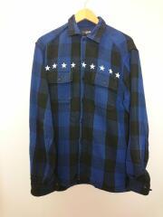 BUFFALO CHECK SHIRT/MSH-A19ZZ02/ネルシャツ/L/コットン/BLU/チェック