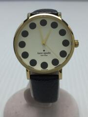 クォーツ腕時計/アナログ/フェイクレザー/WHT/BLK