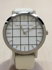 クォーツ腕時計/アナログ/レザー/WHT/WHT/箱有