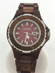 YF-WOOD/クォーツ腕時計/アナログ/--/RED/BRW